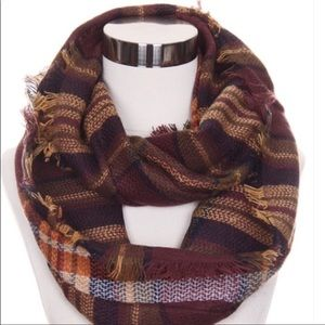 Accessories - Brown Plaid Infinity Scarf